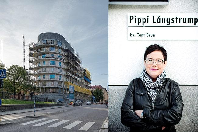 En bild på SKB:s vd Eva Nordström och SKB-hus