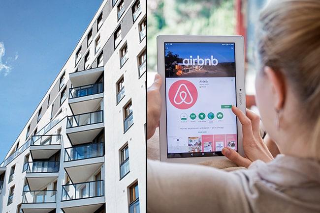 En bild på en lägenhet och tjej som letar bostad på airbnb