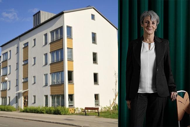 modernt lägenhetshus och johanna cerwall, vd på skandias bank
