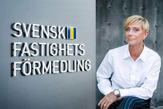 fasad med svensk fastighetsförmedlings logotyp och företagets vd liza nyberg