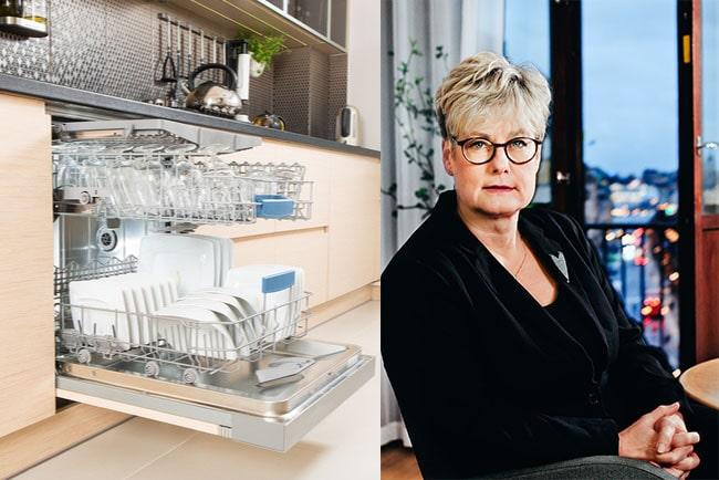 öppen diskmaskin i kök och Hyresgästföreningens ordförande Marie Linder