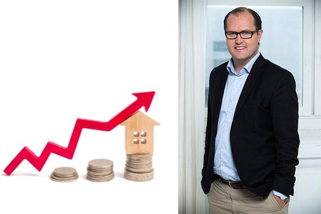 stegrande högar med mynt, litet trähus och pil uppåt. Erik Elmgren, hyresgästföreningens förhandlingschef