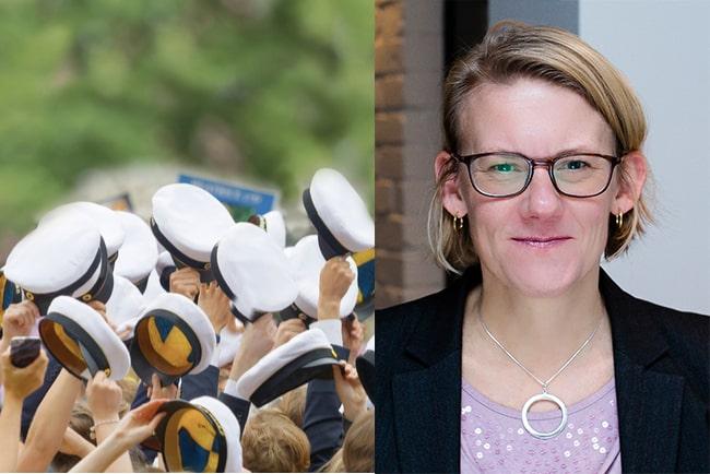 studentmössor i vädret och Stockholms studentbostäders vd Ingrid Gyllfors
