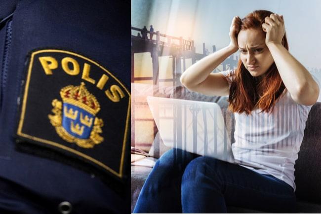 polismärke och upprörd student vid laptop