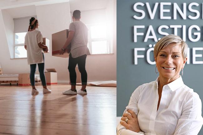 ungt par flyttar in i ny lägenhet, och liza nyberg, vd på svensk fastighetsförmedling