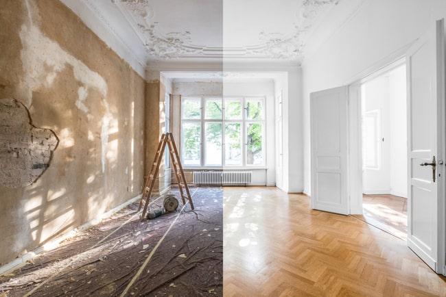 rum i lägenhet före och efter renovering