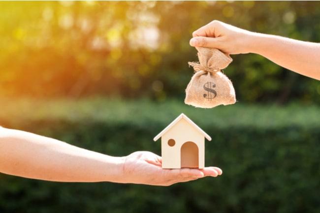 en hand håller i ett litet trähus, en annan hand i en påse med pengar, med natur i bakgrunden