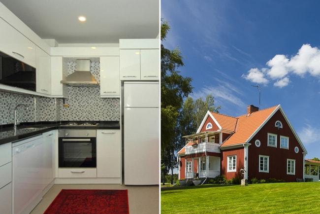 kök i enrumslägenhet och röd villa med stor grön tomt