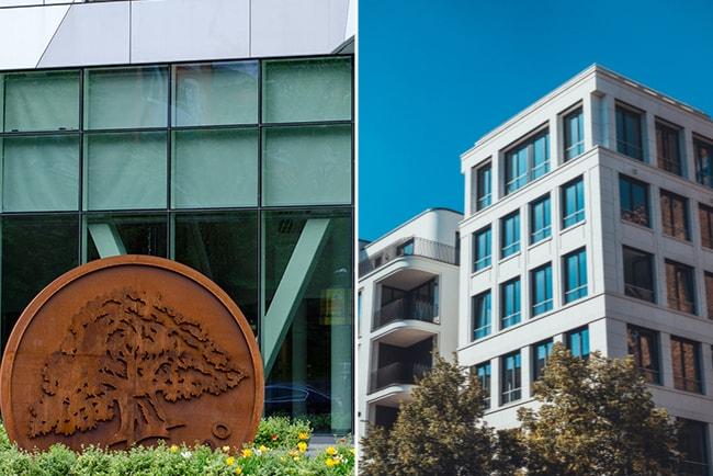 swebanks logotyp utanför kontor och nyproducerat lägenhetshus