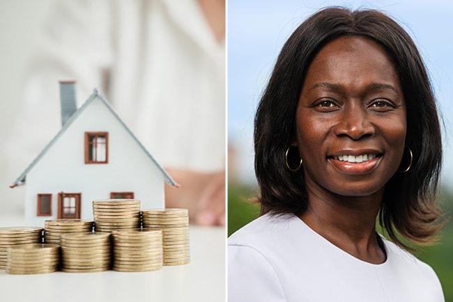 modell av hus med mynthögar runt sig, och Nyamko Sabuni, partiledare för Liberalerna