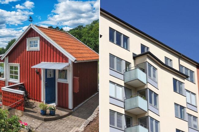 röd villa och lägenhetshus