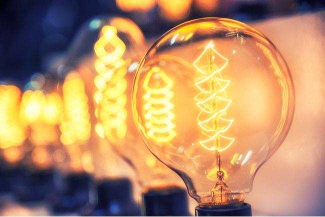 Närbild på en glödlampa