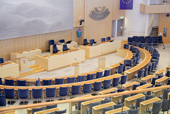 Kammaren i Sveriges riksdagshus.
